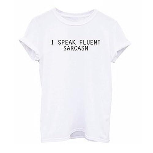 Rcool Mujeres del Verano de la Blusa de Ocasional Manga Corta de Algodón Impresión de la Letra Camiseta Tops T shirt (M, Blanco)