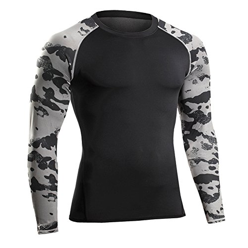 Prettywell Men's PRO Fitness Sports Fast Dry Breathable Stretch Shirt MA46 (XL, grey sleeve)