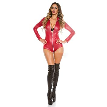 11f617c0278c Future-YX Sexy Black Red Wet Look Long Sleeve Bodysuit Women Black Leather  Bodysuits