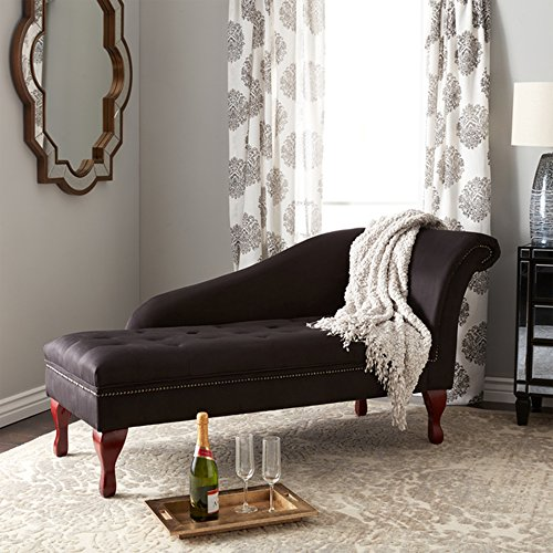 Storage Chaise Lounge - Contemporary Lift Up Tufted Seat Chair - Microfiber Upholstered And Foam Filling - Nailhead Trim - Mahogany Legs - Great For Your Living Room (Black) (Living Room Mahogany Chaise)