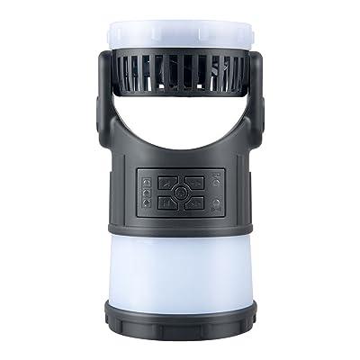 Topjoy Lanterne de Camping Multifonction Portable Rechargeable LED Tente de Camping Lumière Gear Handy Lampe de Poche Lampe Torche Avec Solide Ventilateur de Refroidissement Radio FM Mosquito Répulsif pour Rando