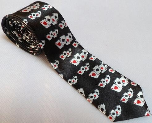 Neck Mens Aces Polyester Tie Playing Skinny Poker Cards PPgYwq4