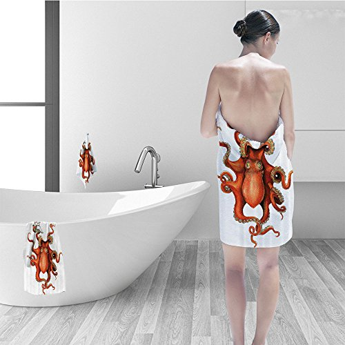 Bath Towel Set Octopus Decor Collection Kraken Octopus Holding Sailing Ship In Tentacles Mythical Monster Nautical Theme Decor Polyester Fabric Bathroom White Orange