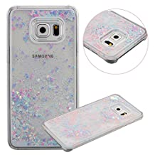Galaxy S6 Edge Plus Case, TIPFLY Flowing Liquid Floating Luxury Bling Glitter Sparkle Cover with Love Heart Powder, Clear Dual Layer Hard Plastic Case for Samsung Galaxy S6 Edge Plus - Pink and Blue
