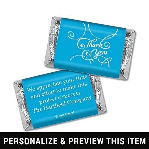 Thank You Personalized Hershey's Miniatures Wrappers - Scroll (100 Wrappers) Caribbean Blue