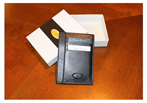 Sleeve Cash Holds Leather Wallet Black Slim Premium Slim Wallet Reduces Profile Made 10 Bulk Fiorentina Cuoieria Italy Calf in Cards AqE6wP4