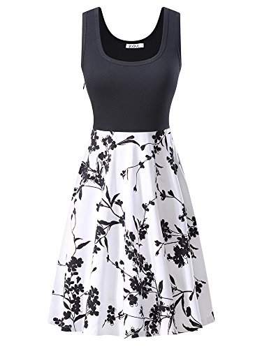 KIRA Women's Vintage Scoop Neck Midi Dress Sleeveless A-Line Cocktail Party Dress Medium 6500-1 (Neck Scoop Sleeveless Dress)