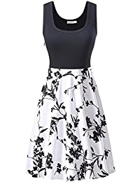 Kira Women S Vintage Scoop Neck Midi Dress Sleeveless A Line Cocktail Party Tank Dress