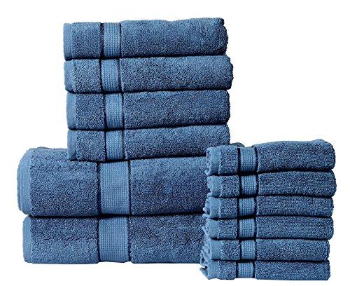 Panache Collection 600 GSM Ultra Soft 100% Cotton 12 Piece Towel Set (Navy Blue): 2 Bath Towels, 4 Hand Towels, 6 Washcloths, Long-Staple Cotton, Spa Hotel Quality, Super Absorbent, Machine Washable