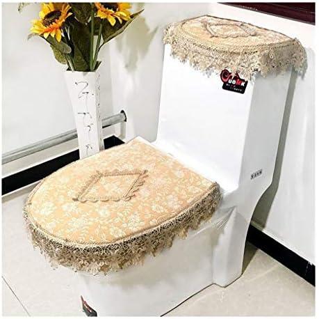 トイレシートカバー - スーパー綿毛 - ユニバーサル - 機械洗浄、加熱便座、浴室便座カバーセット、3のレースセット (Color : Yellow)