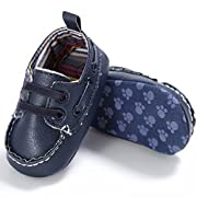 Voberry Newborn Baby Boy Girl Leather Crib Shoes Toddler Soft Sole Sneakers (0~6 Month, Navy)