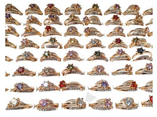 Wholesale Rhinestone Jewelry (AIHIQI Fashion Wholesale Lots Colorful Rhinestone Cz Finger Ring for Mens Womens Gift (30Pair-No)