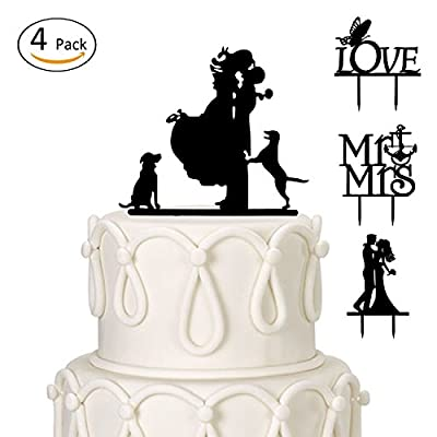 ANPHSIN Set of 4 Romantic Silhouette Mr and Mrs, Lover, Couple with Two Dogs, Bride and Groom Wedding Cake Toppers