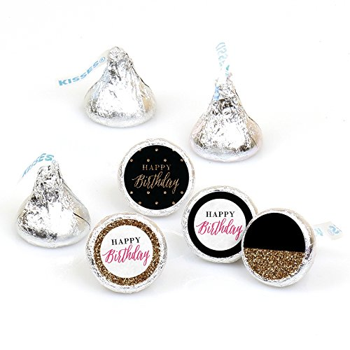 Chic Happy Birthday - Pink, Black and Gold - Round Candy Sticker Favors - Labels Fit Hershey's Kisses (1 Sheet of 108)