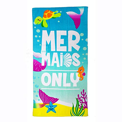 "CC EFIND Beach Towel for Kids, 100% Cotton Soft Blanket Throw, 24"" X 48"" Mermaid Ocean Terry Towel for Travel, Beach, Swimming, Bath, Camping, and Picnic (Light - Towel Swimming Beach"