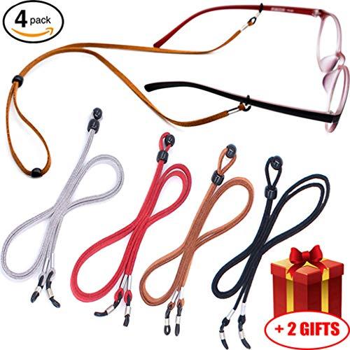 - Eyeglass Holder Chain [Pack of 4 + Bonuses] Premium Leather Eyewear Retainer - Womens Mens Sunglasses Eyeglasses Strap for Sports Travelers Drivers - Safety Glasses Strap - Never Lose Glasses Again