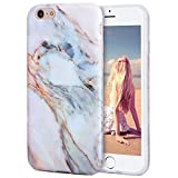 iPhone 6s Plus Case, Imikoko™ Hard Case Print Crystal for iPhone 6 Plus (4.7 inch Display) - White Marble Pattern Slim Fit Snap On Hard Shell Back Case For iPhone 6/6S Plus (Pink)