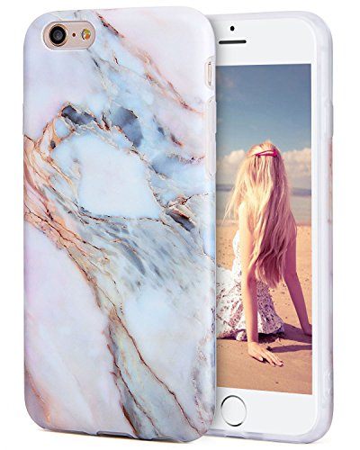 (iPhone 6s Plus Case, ImikokoTM Flexible Case Print Crystal for iPhone 6s Plus (5.5 inch) - White Marble Pattern Slim Fit Snap On Hard Shell Back Case for iPhone 6/6S Plus (Pink))