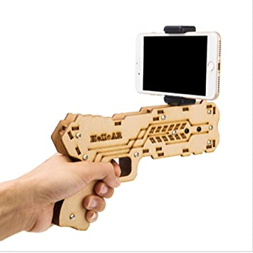 4ecf996d0e5d 3D AR Augmented Reality Gun DIY Bluetooth AR Toy Gun with Cell Phone Stand  Holder for iOS Android  Amazon.co.uk  Toys   Games