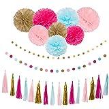 26Pcs Party Decoration Kit Rose Light Blue Pink Gold Tissue Paper Pom Poms Flower Tissue Paper Hanging Tassels Paper Garlands for Baby Shower Wedding Nursery Bridal Shower