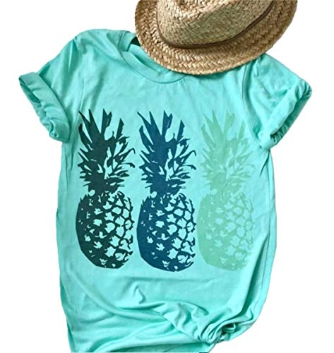 (LAMOSKY Funny Cute Graphic Pineapple Tee Shirt for Women Summer Beach Loose Casual Short Sleeve Tops Blouse Size XL (Blue))