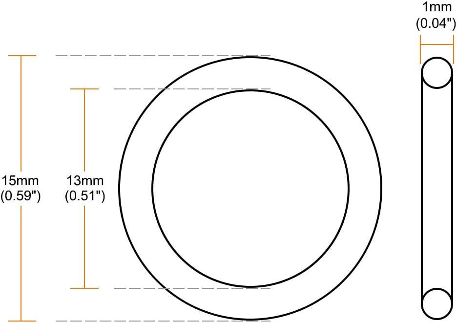 sourcingmap Juntas T/óricas Anillo de Sellado Resistente a Calor Verde 30 Piezas 15mm X 1mm Fkm