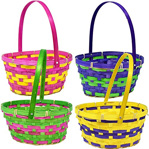 Gift Boutique 12 Bamboo Easter Baskets- Round Bright Easter Colors with Handle for Kids Party Favor Supplies Decorations -