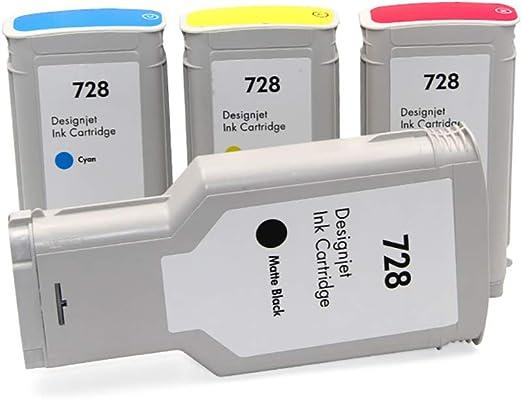 Cartucho de tinta 728 compatible con reemplazo para plotter HP Designjet T830 T730, imprimiendo colores claros y delicados (no rellenable)-4colors: Amazon.es: Oficina y papelería