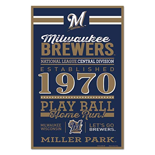 WinCraft MLB Milwaukee Brewers SignWood Established Design, Team Color, 11x17