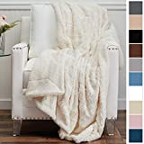 The Connecticut Home Company Luxury Faux Fur with Sherpa Reversible Kids Throw Blanket, Super Soft, Large Wrinkle Resistant Blankets, Warm Hypoallergenic Washable Couch/Bed Throws, 65x50 (Ivory)