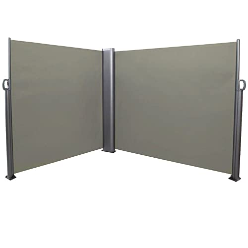 Sunnydaze Patio Retractable Double Privacy Wall, Corner Outdoor Folding Screen Divider with Steel Support Pole 10 x 6 Feet, Grey