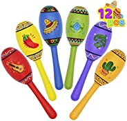 12 Mini Wooden Fiesta Maracas 6 Designs Noisemaker for Mexican Fiesta, Cinco De Mayo Party Favors, Musical Fun