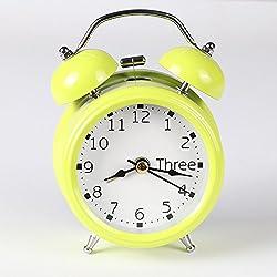 Alarm Clock for Student, Liu Nian Classic Simple Metal Shell Simple Two-Way Bell Slient Analog Quartz Digital Alarm Clock for Bedroom Living Room Decoration Desk (Yellow)