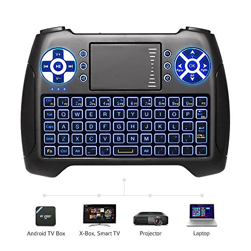 (2018 Latest, Backlit) ANEWISH 2.4GHz Mini Wireless Keyboard with Touchpad Mouse Combo, Rechargable Li-ion Battery & Multi-media Handheld Remote for Google Android TV (Mouse Remote)