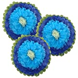 Just Artifacts Tissue Paper Flower Pom Poms (18inch, Set of 3) - Color Combination: Royal Blue Powder Blue Ivory