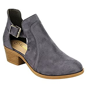 Reneeze AH65 Women's Cut-Out Buckle Casual Ankle Booties Heels, Color:GREY, Size:8.5