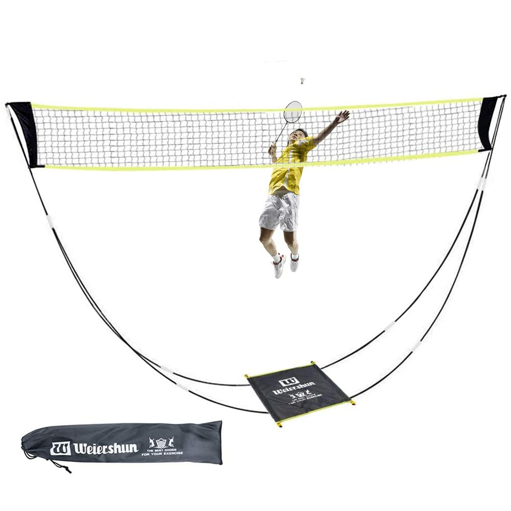KIKILIVE Portable Badminton Net with Stand Carry Bag, Foldable Volleyball Tennis Badminton Net Rack – Easy Setup for for Outdoor/Indoor Court, Backyard, No Tools or Stakes Required