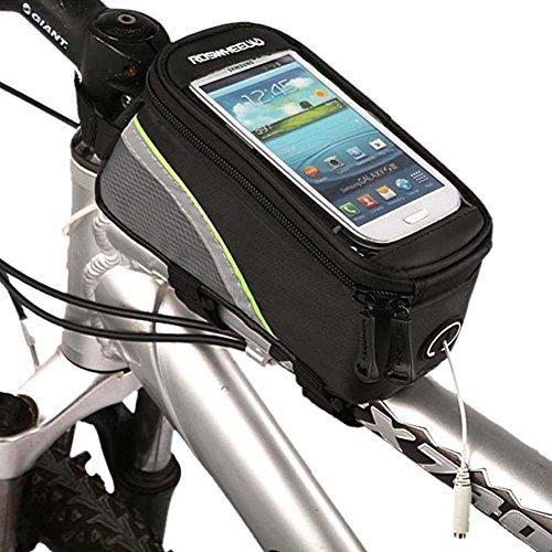 Roswheel Radfahren Mountain Bike Fahrradrahmen Tasche Rahmentasche Oberrohrtasche Handytasche mit transparentem PVC-Fenster für Handys Größe S / M / L (Green, L)