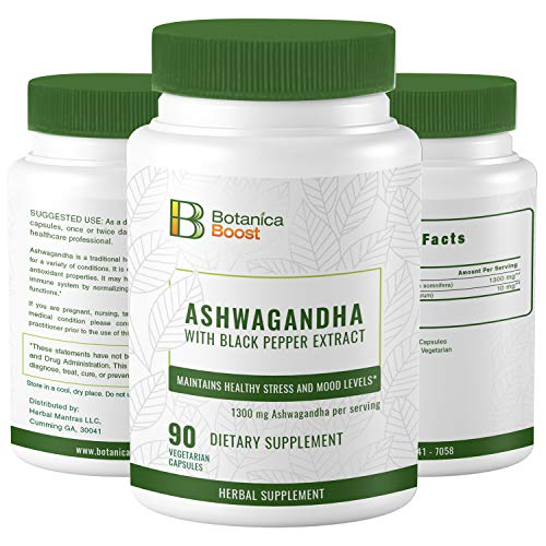Ashwagandha 650mg Natural Root Powder Extract Supplement Capsules for Stress and Anxiety Relief, Mood Support and Improved Energy (90 Count)