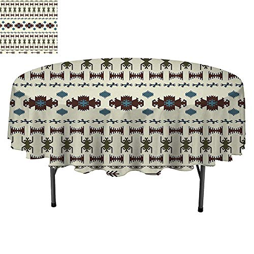SATVSHOP Round Table-60Inch-for Birthday Party, Graduation Party.Native American Tribal Pattern Aztec Inca Navajo Illustration Ethnic Geometric Beige and Brown. ()