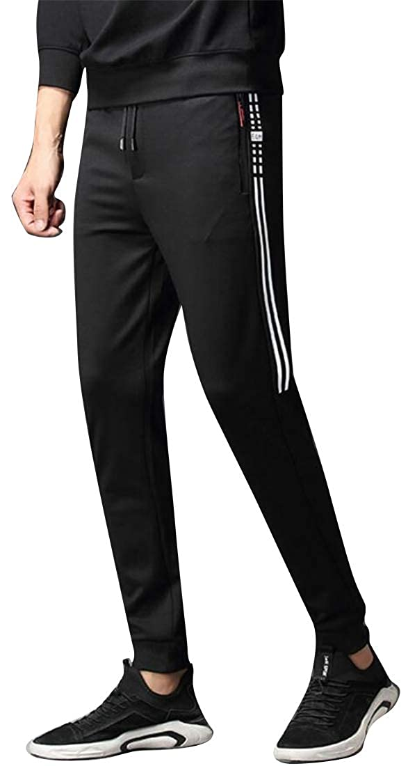 SHOWNO Mens Full-Zip Elastic Waist Lounge Pants Trousers Drawstring Sport Jogger Pants Trousers