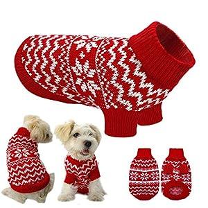 Ducomi Hearts – Jersey para Perros y Cachorros de algodón Suave y cálido con diseño navideño y Corazones, (XL, Rojo)