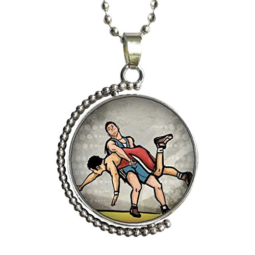 GiftJewelryShop Olympics Wrestling Glass Cabochon Rotatable Lucky Pendant Necklace by GiftJewelryShop
