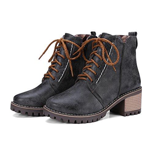 Show Shine Womens Lace Up Platform Chunky Heel Oxford Boots Black 7rKmtc