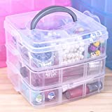 Inditradition Multipurpose 3 Stake Storage Box Organizer | For Kitchen, Dressing Table, Wardrobes, Dining Table | With Shelf Dividers, Upto 18 Shelvs - Plastic (Transparent)