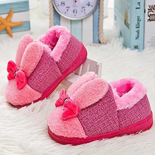Babyschuhe Longra Kleinkind Baby Mädche Stiefel Schuhe Baby Warm Winter Schuhe mit Bowknot Gummi Soft Sole Schnee Stiefel Soft Krippe Schuhe Kleinkind Stiefel(0-3Jahre) Red
