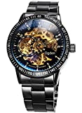 Carrie Hughes Men's Steampunk Automatic Watch Self-winding Skeleton Mechanical Stainless Steel CH88226GC