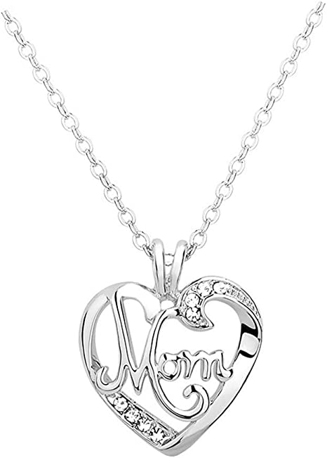Amazon Com Mom Christmas Mothers Day Gifts Mom Heart Crystal Necklace Mother Valentines Birthday Gifts For Women White Arts Crafts Sewing