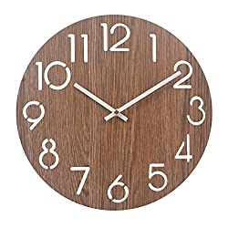 Color Map-12 Inch Silent Non-Ticking Vintage Large Numeral Design Rustic Country Tuscan Style Wooden Decorative Round Wall Clock,Battery Operated (Arabic numerals-416)