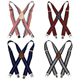 Bundle Monster 4pc Unisex Mens Suspender - Light Stripe Design X-Back...